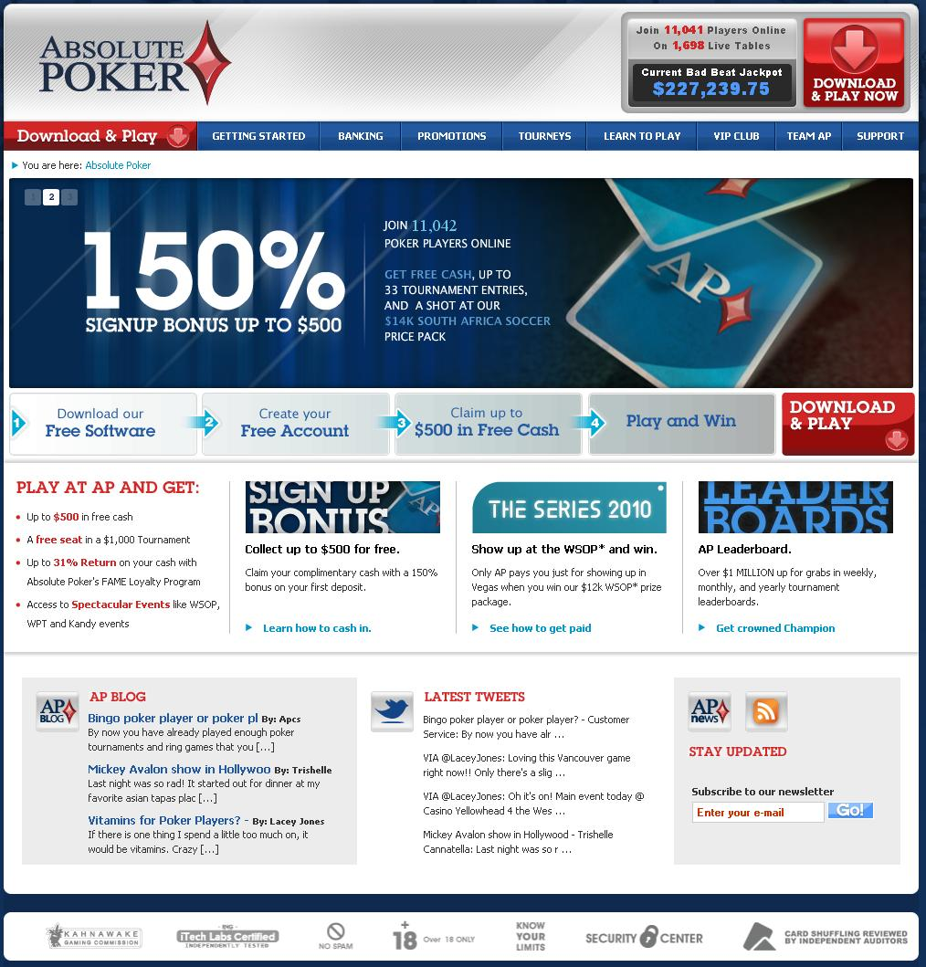 AbsolutePoker.com Website