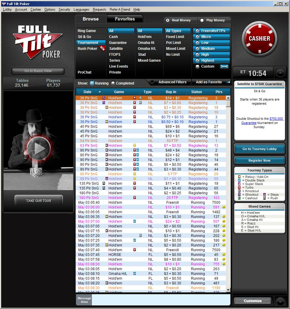 FullTilt.com Tournament Lobby