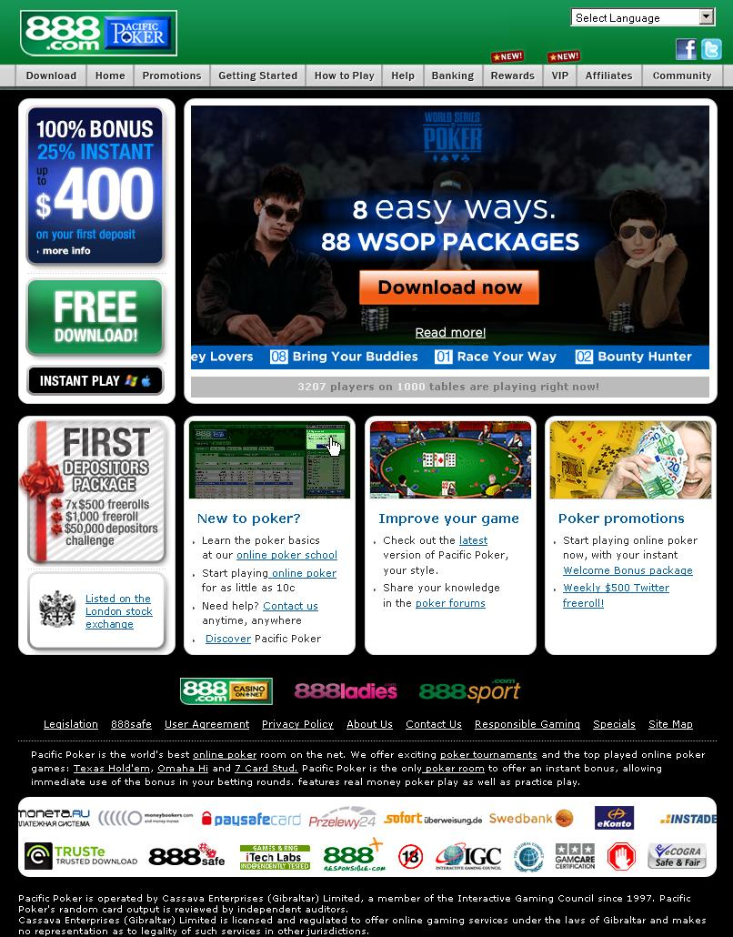 PacificPoker.com Website