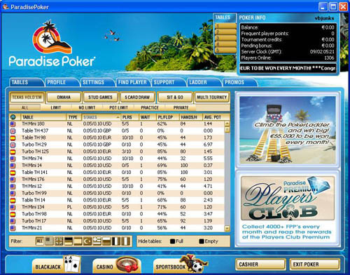 ParadisePoker.net Tournament Lobby
