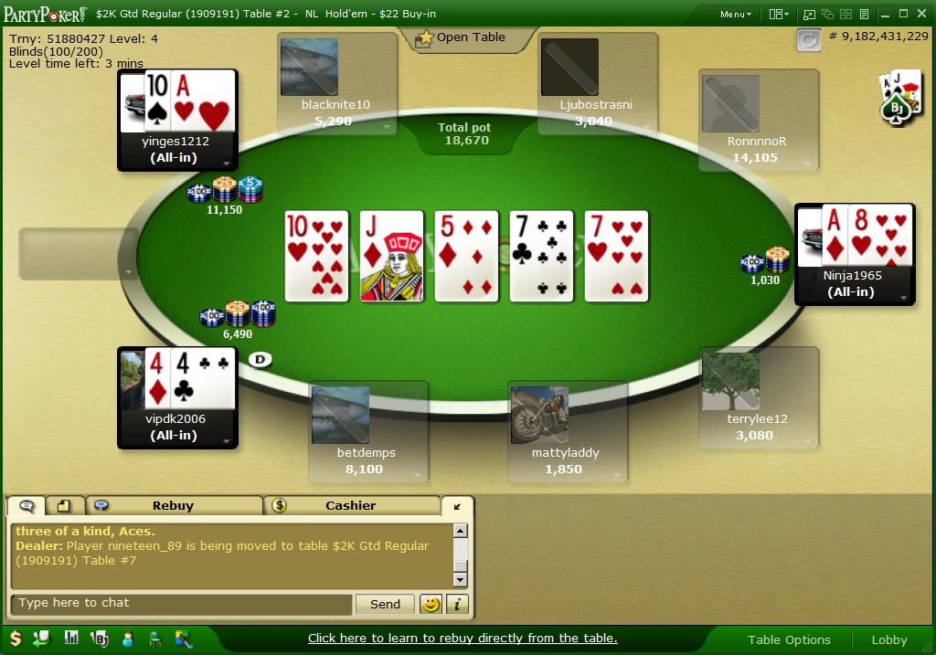 Texas hold'em odds 6 players