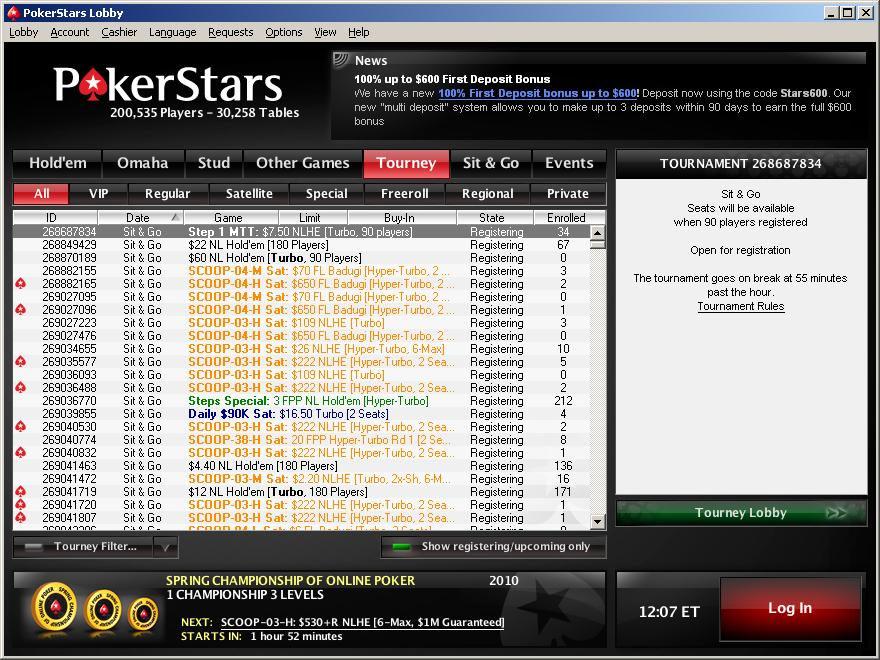 PokerStars.com Tournament Lobby