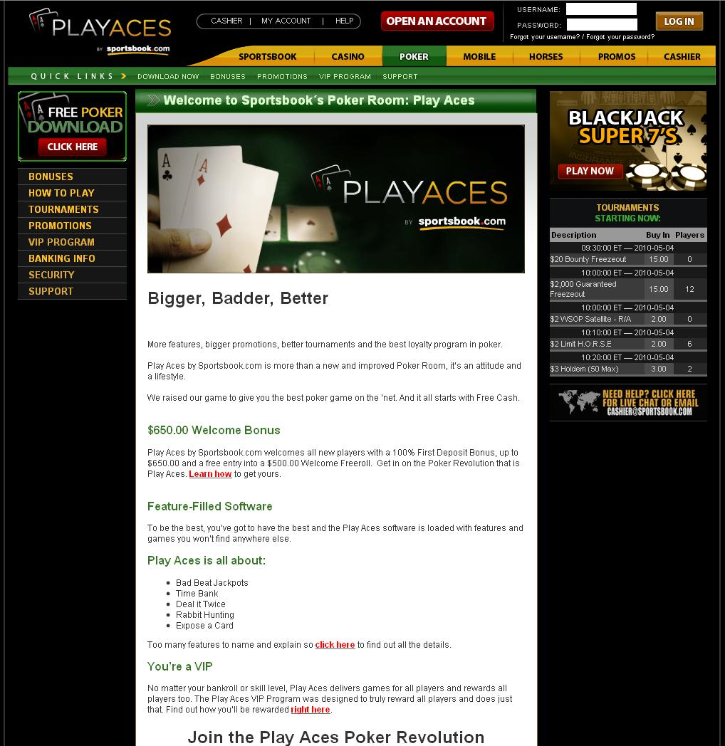 PlayAces.com Website