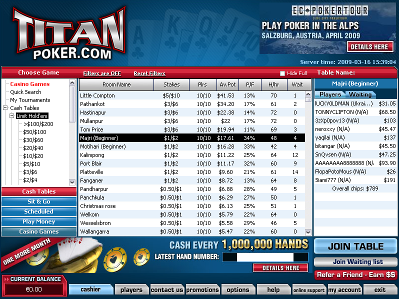 TitanPoker.net Tournament Lobby