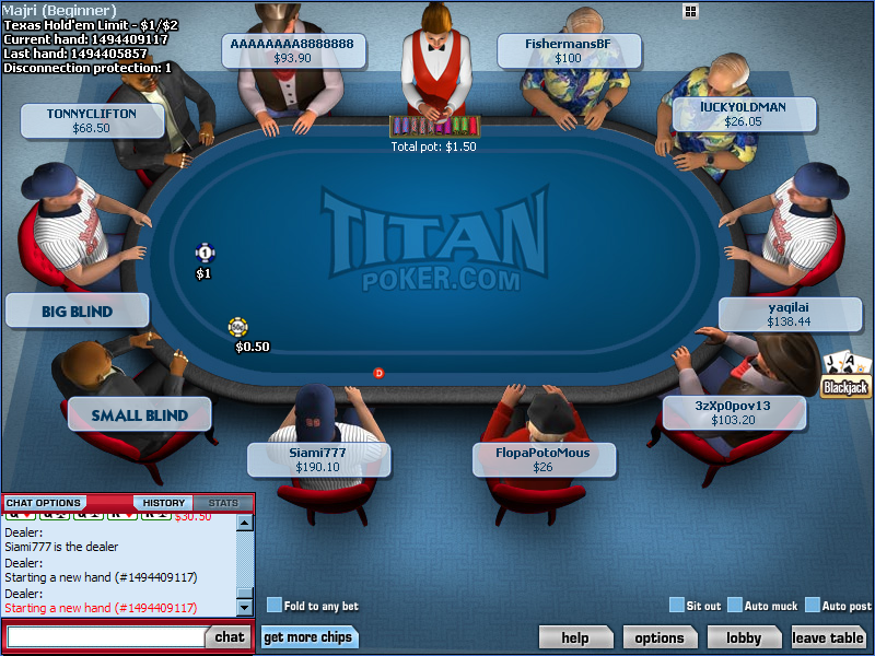 TitanPoker.com Tournament Table