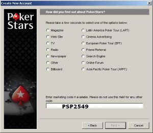 Poker Stars Marketing Code
