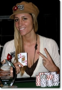 Vanessa Rousso stacking the chips